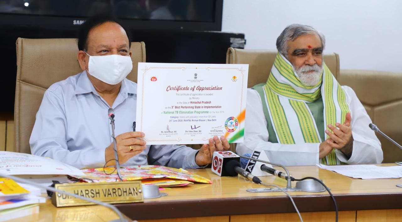 Hon'ble Minister of Health, Dr. Harsh Vardhan & Hon'ble Minister of State, Shri Ashwini Kumar Choubey issued the Certificate of Appreciation to States on 24th June 2020