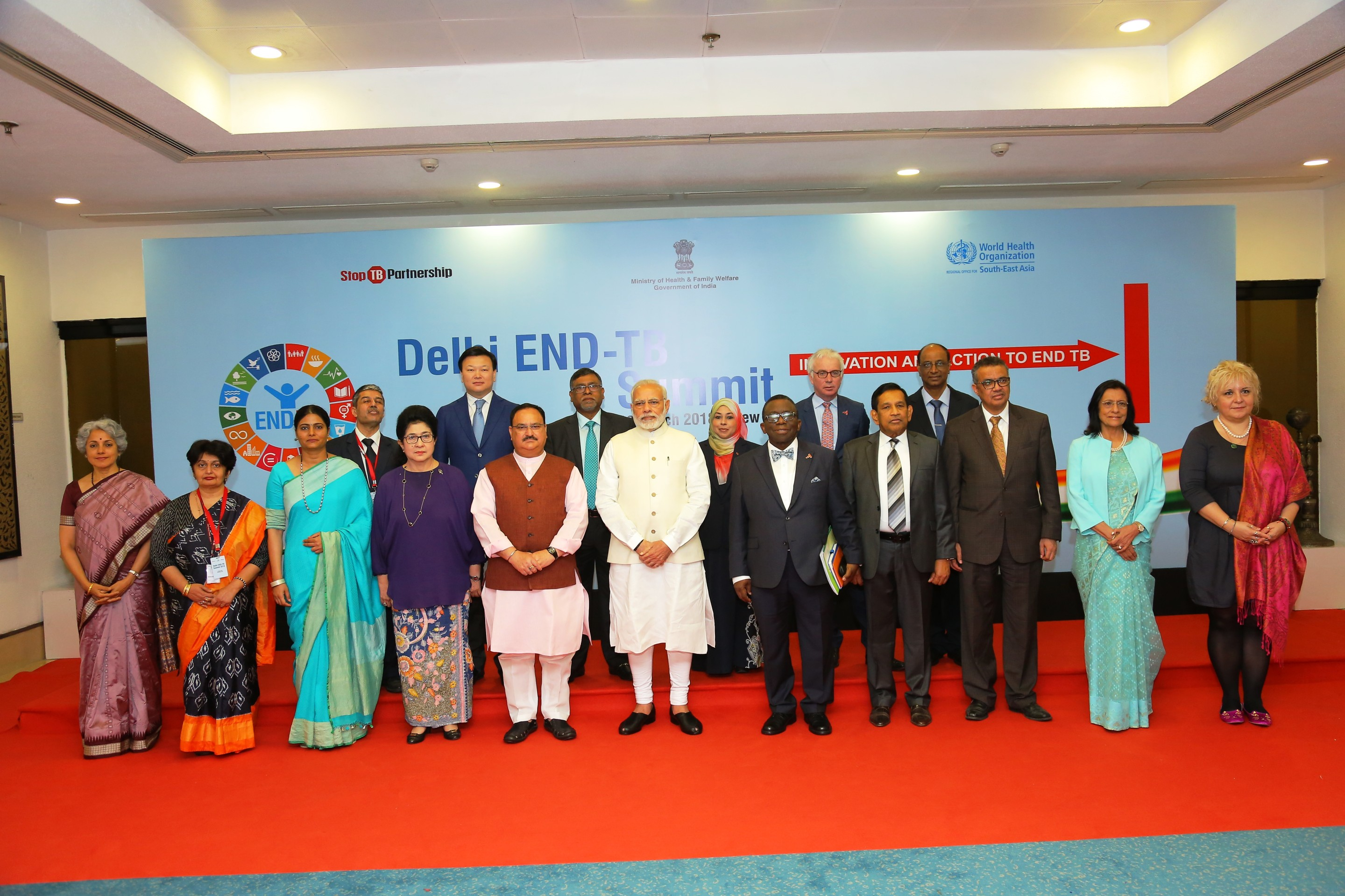 Prime Minister along with Health Minister of Brazil, Nigeria, Khazakistan, Sri Lanka, Tanzania, Zimbabwe, Regional Director WHO (SEAR) Executive Director (Stop TB)