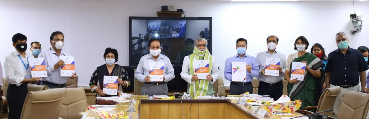 Hon'ble Minister of Health, Hon'ble Minister of State, Secretary (H), OSD (H), AS & FA, AS (H), Head ICMR, DGHS, DDG (TB)  released DBT Mannual for NTEP on 24th June 2020