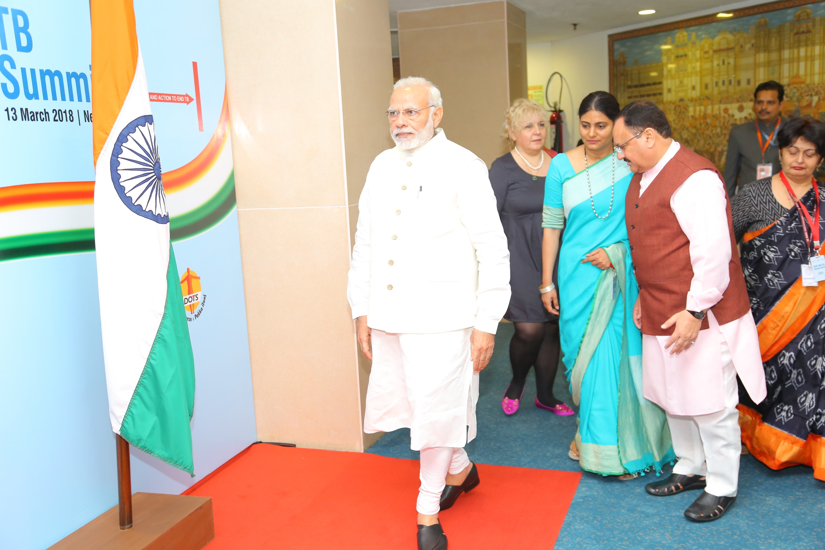 Honble Prime Minister arrives at Vigyan Bhawan (13th March 2018)