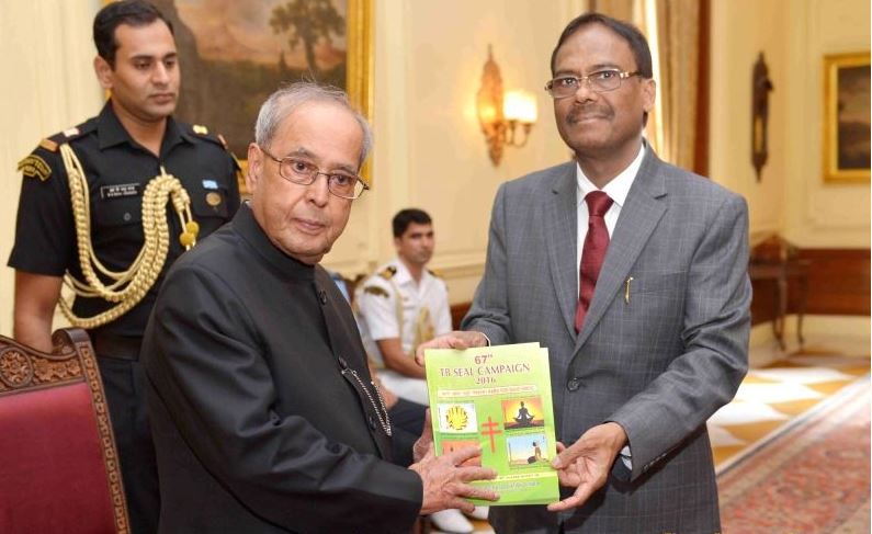 President Pranab Mukherjee launches the 67th TB Seal Campaign of the Tuberculosis Association of India during a programme organised at Rashtrapati Bhavan in New Delhi, on Oct 2, 2016.